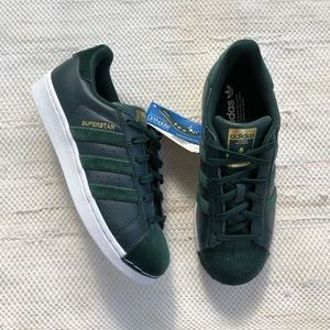 NWT Adidas leather and velvet superstar sneakers